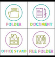 office stationery as round linear icons templates vector image