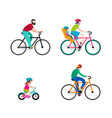 people riding on bicycles in the park vector image vector image