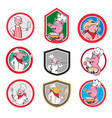 pig worker icon mascot cartoon set vector image vector image