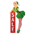 Pretty girl in Christmas elf costume sale banner vector image vector image
