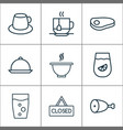 restaurant icons set with hanging board beef vector image vector image