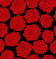 Seamless pattern of red roses on black background