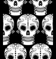seamless pattern white sugar skull vector image