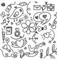 set hand drawn elements doodle black lines vector image