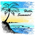 sketch of a beach with palm tree vector image vector image