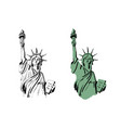 sketch of statue of liberty new york of usa vector image