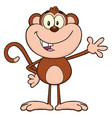 smiling monkey cartoon character waving vector image vector image