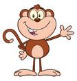 smiling monkey cartoon character waving vector image vector image