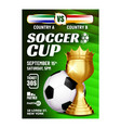 soccer sportive champion cup booklet poster vector image vector image