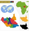 South Sudan map vector image