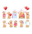 teddy bears set valentine vector image vector image