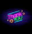 thank you phrase and hearts on wall in neon vector image
