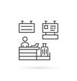 thin line airport check-in desk icon vector image