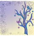 Tree with birds painted by hand vector image