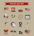 vintage style set patriotic icons independence vector image vector image