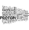 whey protein facts text word cloud concept vector image vector image