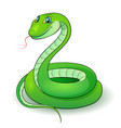 cartoon of a nice green snake vector image