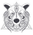bear ornamental head with valknut line art vector image