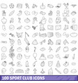 100 sport club icons set outline style vector image vector image