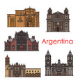 argentina landmarks buildings line icons vector image vector image