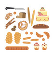 bakery foodstuffs set vector image