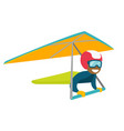 black woman flying on hang-glider vector image vector image