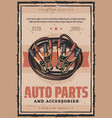 car service auto parts repair retro poster