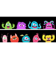 cartoon monsters halloween monster faces vector image vector image