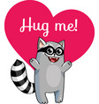 cartoon raccoon ready for a hugging vector image