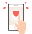Cell phone with touching hand and hearts vector image vector image