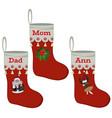 christmas stocking icon set flat vector image