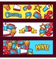 Cinema and 3d movie advertising banners in cartoon vector image vector image