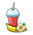 cola and fruits icon cartoon style vector image