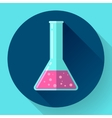 Conical Flask Icon with chemical solution Flat vector image vector image