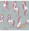 cute unicorn seamless pattern vector image