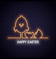 easter neon sign happy easter neon chick vector image