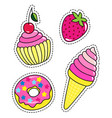 fashion patch badges with cupcake donut ice vector image