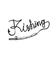 fishing handwritten message with hook and spinning vector image