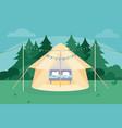 flat comfortable camping vector image