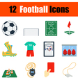 Flat design football icon set vector image vector image