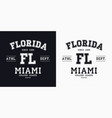 florida miami design for t-shirt college tee vector image vector image