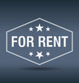for rent hexagonal white vintage retro style label vector image vector image