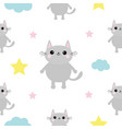 gray cat head hands cloud star shape cute cartoon vector image