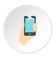 Hand taking selfie photo icon flat style vector image
