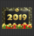happy new year christmas card gift box ribbon vector image vector image