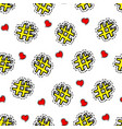 hashtags and hearts seamless pattern social media vector image vector image