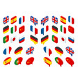 isometric set flags world isolated vector image