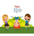 little girls happy characters vector image