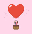 loving couple are kissing on big heart balloon vector image vector image
