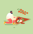 man baking and eating huge pizza male character vector image vector image
